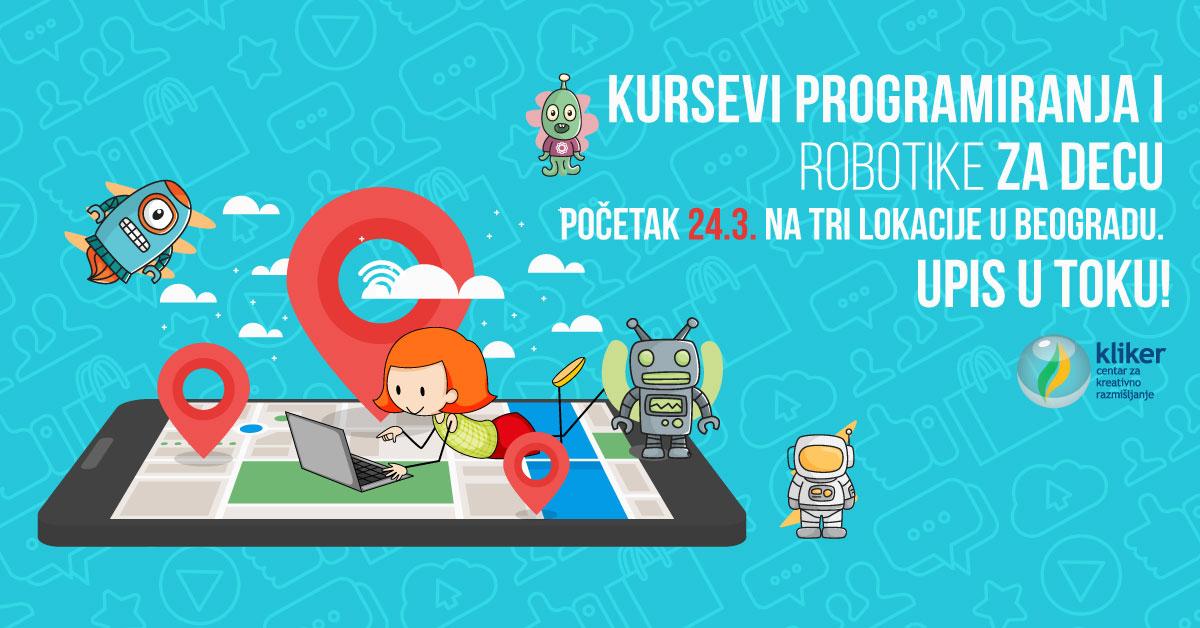 Martovski kursevi programiranja i robotike za decu u Beogradu! Početak kurseva je 24. i 25. marta, a završetak 9. juna.