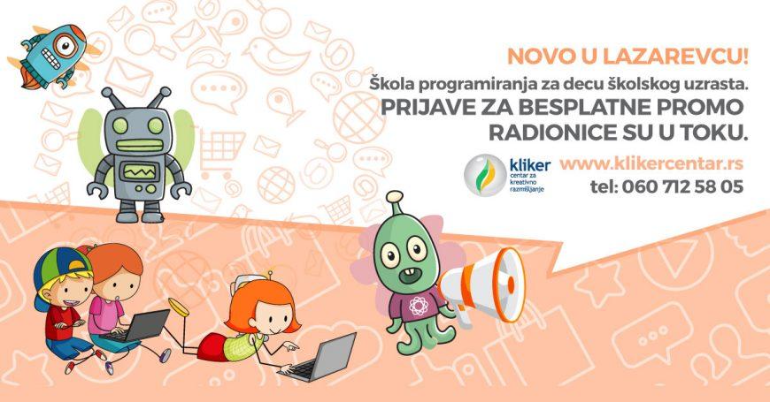 Besplatne radionice programiranja za decu u Kliker centru Lazarevac – 24.3.2018.